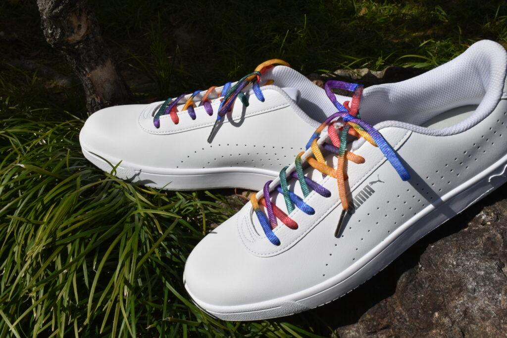 虹色の靴紐 おしゃれな靴紐 スニーカーが変わる靴紐 靴ひも 虹色