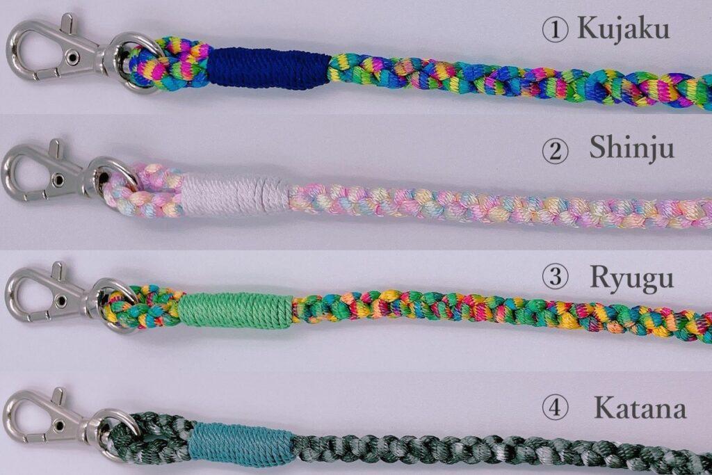スマホストラップの色とくみひもにした際の見え方。きれいに紐が組まれています。